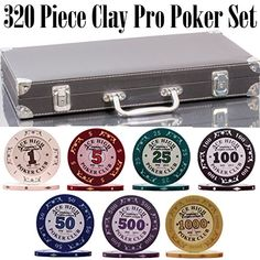 320 Piece Pro Poker Clay Poker Set - Plastic Cards with Cutting Cards - Reinforced Leather case - Free Poker Felt Clay Poker Chips, Poker Chips Set, Poker Set, Plastic Playing Cards, Plastic Card, Different Types, Leather Case, Game Room, Party Planning