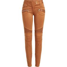 Balmain Biker Pants ($1,080) ❤ liked on Polyvore featuring pants, bodies, bottoms, faces, brown, zip pants, bike jerseys, biker pants, brown pants and shiny pants