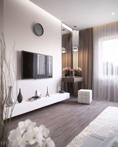 ✔ 70 best minimalist bedroom design you must try 12 Apartment Interior, Home Living Room, Interior Design Living Room, Living Room Designs, Living Room Decor, Bedroom Apartment, Home Bedroom, Modern Bedroom, Bedroom Decor