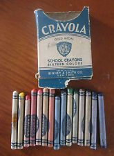 Vintage School Supplies - Crayola Gold Medal School Crayons - old crayons & box