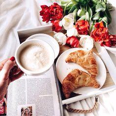 Breakfast, tulips, coffee, puffs, magazine.