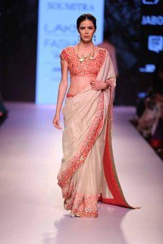 Sari Marg by Soumitra   ivory peach pink sari   Lakme Fashion Week Summer Resort 2015   thedelhibride Indian weddings blog