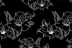 Alstroemeria seamless pattern vector by Art By Silmairel on @creativemarket