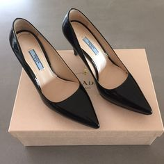 Patent Prada pumps These are in like new condition with minimal wear. Size 38 euro. No damages or scuffing, come with box. Authentic. Prada Shoes Heels
