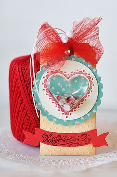 Valentine Tags - handmade scrapbooking project.   Treat bags for valentines party