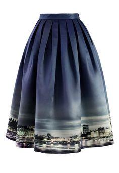 Night Skyline of London Print Midi Skirt - Skirt - Bottoms - Retro, Indie and Unique Fashion