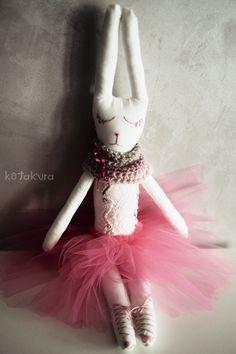 Handmade Bunny Doll, Ballerina in pink tulle tutu