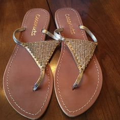 Brand new Coconuts Gold sandals. New in box. Coconuts Luxor in gold with rhinestones. Elegant and comfortable. Coconuts Shoes Sandals