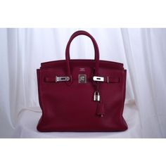 Hermes Rubis Ruby Red Clemence Leather 35cm Birkin Bag with Palladium Hardware