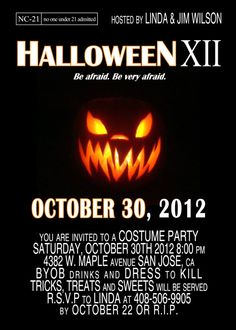 Horror Movie Halloween Party Invitation. $2.15 | Exceptional ...