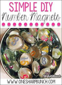 DIY Number Magnets -