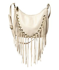 Cream Suede Fringe Bcharmm Shoulder Bag #zulily #zulilyfinds