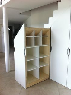 sliding cupboard under stairs - Closet Shelves, Corner Shelves, Under Stairs Pantry, Sliding Cupboard, Attic Staircase, Home Storage Solutions, Stair Storage, Spare Room, Basement Remodeling