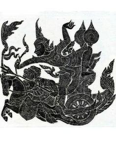 Thai Temple Rubbing – Black – Story of Ramakien From The Story of Ramakien, Phra Narai fires his Akaniwat arrow.
