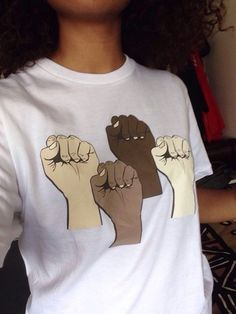 fist interracial dope swag unity cool colorful curly hair shirt t-shirt african american
