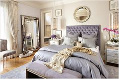 purple and grey with mirrored nightstand, also the tufted headboard