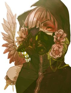 why is there so much gas mask stuff i mean it's pretty sexy but yo Manga Anime, Art Anime, Anime Kunst, Manga Girl, Gas Mask Art, Masks Art, Gas Masks, Anime Mascaras, Ken Kaneki Tokyo Ghoul