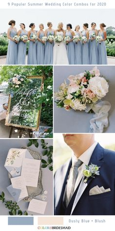 9 Popular Summer Wedding Color Combos for 2020 9 Popular Summer Wedding Color Combos for Dusty Blue + Blush. wedding blush 9 Popular Summer Wedding Color Combos for 2020 Purple Summer Wedding, June Wedding Colors, Popular Wedding Colors, Pink Wedding Theme, Wedding Blush, Wedding Flowers, Wedding Color Combinations, Wedding Color Schemes, Color Combos