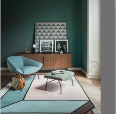 Green and Blue home decor inspiration. Beautiful combination of colour and form in this Interiors set design by via
