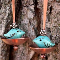 Handmade Angry Birds in A Cup Copper Argentium Silver Artisan Earrings | popnicute - Jewelry on ArtFire