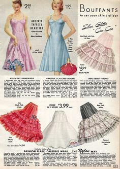 Petticoat History & How to Make Them Fluffy photo picture Vintage Outfits, Robes Vintage, Vintage Skirt, 1950s Style, Lingerie Retro, 1950s Fashion, Vintage Fashion, Edwardian Fashion, Corset