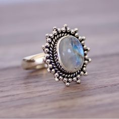 MOONSTONE SUN RING ♥️♥️ Available in our 'Gems and Stones' Collection || www.indieandharper.com