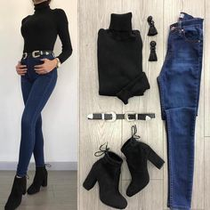✔ Women Outfits For Night Out Jeans Casual Work Outfits, Mode Outfits, Night Outfits, Trendy Outfits, Fashion Mode, Winter Fashion Outfits, Spring Outfits, Womens Fashion, Booties Outfit