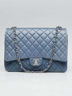 c66dc6eed0cb4f Chanel Blue Quilted Lambskin Leather Classic Double Maxi Flap Bag