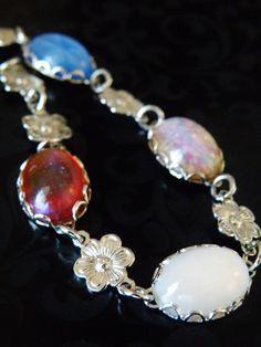 VINTAGE STERLING SILVER 925 DRAGONS BREATH ART GLASS STONE FLORAL LINK BRACELET #Chain