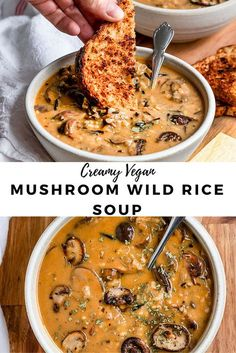 The creamiest Vegan Mushroom Wild Rice soup that is dairy-free & made with no cream. This vegetarian mushroom rice soup is so easy, creamy, & can be made in one pot & in 1 hour or less. A healthy… Tasty Vegetarian Recipes, Vegan Soups, Vegan Dinner Recipes, Vegan Dinners, Veggie Recipes, Whole Food Recipes, Cooking Recipes, Healthy Recipes, Easy Vegan Soup