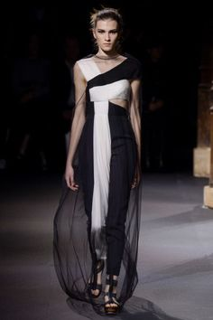 PFW: Vionnet's Romantic Goddess Gowns | Black and White Gown | The Luxe Lookbook