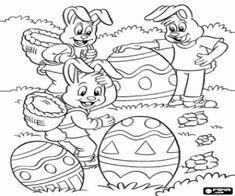 Gelukkig konijntjes met de paaseieren kleurplaat