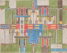 Taliesin Fabric. Designed by Frank Lloyd Wright for Schumacher, USA 1954.