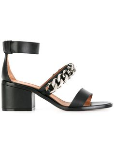 GIVENCHY Chain Strap Block Heel Sandals. #givenchy #shoes #sandals