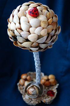 топиарий из ракушек,своими руками,мастер класс,дерево из ракушек,поделки из ракушек,пошаговое фото,как делать топиарий,европеское дерево,цветы из ракушек