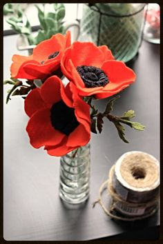 Small Felt Poppy Bouquet Dark Orange Three by TheFeltFlorist, $34.00