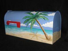 TROPICAL BEACH Hand Painted Mailbox