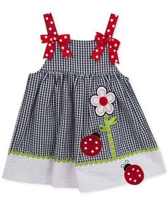 Rare Editions Gingham Seersucker Ladybug Dress, Baby Girls (0-24 months)