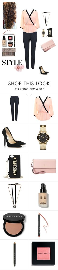 """Work all Day"" by nestizhura ❤ liked on Polyvore featuring H&M, Jimmy Choo, Marc by Marc Jacobs, Moschino, Kate Spade, Lanvin, Bobbi Brown Cosmetics and Urban Decay"