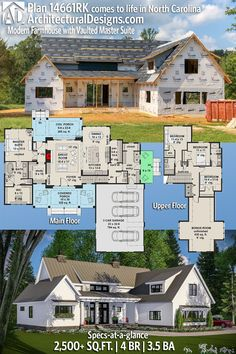 Architectural Designs Modern Farmhouse Plan client-built in North Carolina 2500 sq ft Best House Plans, House Floor Plans, Style At Home, Modern Farmhouse Plans, Design Moderne, House Layouts, House Goals, The Ranch, Modern House Design