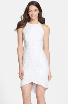 Cynthia Steffe Leather Trim Floral Raschel Lace Sheath | Nordstrom