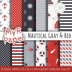 "Digital Paper Pack: ""Nautical Gray & Red"" #patterns and backgrounds with anchor, rudder, sailboat, fish, seawaves. Digital Scrapbooking  50% OFF ON ORDERS OVER 12 $ (OR NEAR... #design #graphic #digitalpaper #scrapbooking"