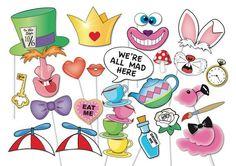 Mad Hatters Tea Party Photo booth Props Set - 33 Piece PRINTABLE - Croquet Set, Royal Croquet Court sign, Flamingo, 7 Directional arrows