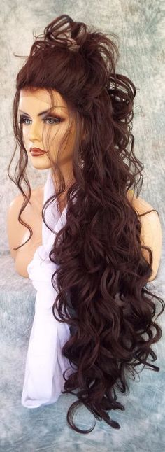 LACE FRONT LACE FRONT C PART LONG 25' WAVY WIG COLOR #4 GORGEOUS SEXY 1044 #Unbranded #FullWig