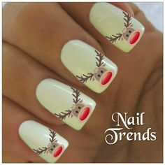 Reindeer Nail Decal 20  Vinyl Adhesive Decals Christmas Nail Tattoos  Nail Art Nail Tattoos by NailTrends on Etsy https://www.etsy.com/listing/191481366/reindeer-nail-decal-20-vinyl-adhesive