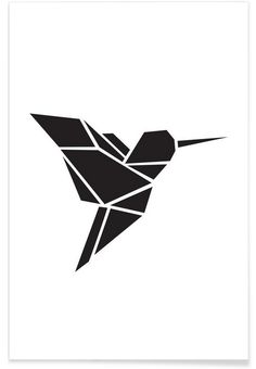 Origami Kolibri als Premium Poster door Eulenschnitt | JUNIQE