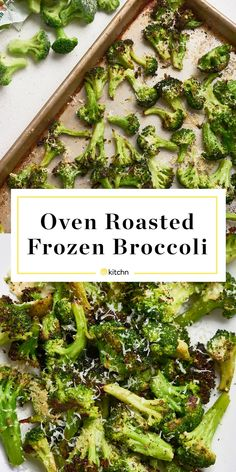 Recipe: Oven-Roasted Frozen Broccoli — Recipes from The Kitchn - Low Carb Dinner Ideas - Brokkoli Frozen Broccoli Recipes, Roast Frozen Broccoli, Broccoli Salad, Broccoli Baked In Oven, Oven Roasted Veggies, Roasting Frozen Vegetables, Broccoli Florets, Frozen Vegetable Recipes, Recipe Using Frozen Broccoli