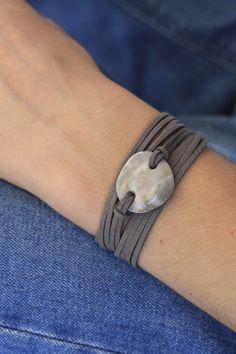 Wrap bracelet with grey beach pebble
