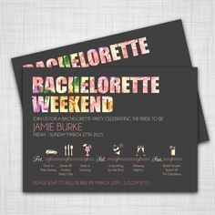 Bachelorette Party Weekend- DIY Printable Invitations with CUSTOMIZABLE Timeline! by KLindDesigns on Etsy https://www.etsy.com/listing/222305161/bachelorette-party-weekend-diy-printable