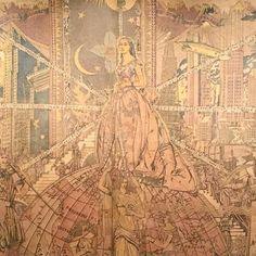 """""""Created by Arthur Gordon Smith and completed in 1934, the batik mural """"The World of Radio"""" was…"""""""